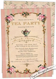 tea party birthday invitation. Birthday High tea party invite. Tea party invitation. Custom personalized printable or printed.