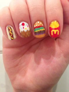 I love this nail design b/c (b/c means because) I love mc Donald's and I love mc Donald's Big Macs so I really like this nail design
