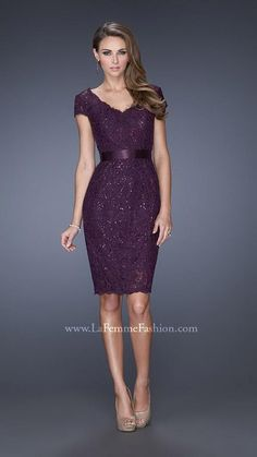879905f153c6 La Femme Evening 19167 Elegant V-neck dress with a ribbon accented waist  and cap sleeves. The lining is sequined with a beautiful lace overlay.
