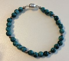 Beaded Turquoise Colored and Silver Tone by vintagerepublic1, $15.00