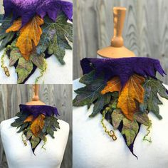 This neckwarmer/ necklace has been created with handmade and hand dyed felt. The piece measures 8 inches at its longest and closes with a felted tie at the back of the neck, so is therefore adjustable for a perfect fit. The neckwarmer/ necklace is decorated with hand Felted leaves. This one of a kind handmade creation will ship with tracking from the United Kingdom.
