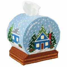 A plastic canvas tissue cover and ornaments in the shape of snow globes. Plastic Canvas Box Patterns, Plastic Canvas Stitches, Plastic Canvas Coasters, Plastic Canvas Ornaments, Plastic Canvas Tissue Boxes, Plastic Canvas Christmas, Plastic Canvas Crafts, Plastic Sheets, Plastic Mesh