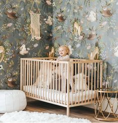 Discover the adorable floral design of the Oh Deer Wallpaper Mural from Project Nursery. This forest animal nursery wallpaper has friendly woodland critters. Hirsch Wallpaper, Deer Wallpaper, Rabbit Wallpaper, Forest Wallpaper, Magnolia Wallpaper, White Wallpaper, Animal Wallpaper, Nursery Themes, Nursery Room