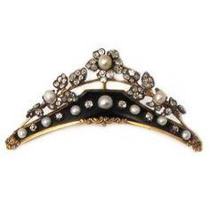ouro amarelo, diamantes, pérola natural, e tiara esmalte