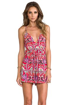 Mara Hoffman Modal Cross Over Romper in Anada Coral
