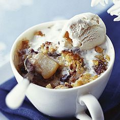 Pear Crumble with Chocolate Chunks and Hazelnuts