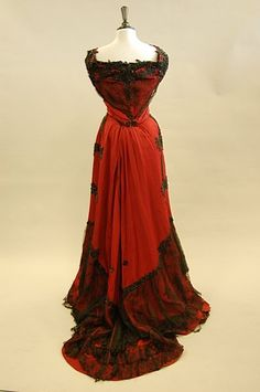 Edwardian silk faille ball gown with jet beading and lace detail by Hanover Square [British], c. 1890