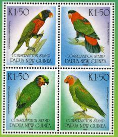 Parrots postage stamp