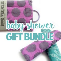 By HintofLimeDesigns Baby Shower Gift Bundle - Door Whisperer & Reversible Car Seat Strap Covers - Purple Hoppy Dots Bunnies / Teal Plume Feather Panache Baby Girl Christmas, Christmas Gifts, Baby Gift Sets, Baby Gifts, Car Seat Strap Covers, Baby Door, Unique Baby Shower Gifts, Happy House, Small Baby