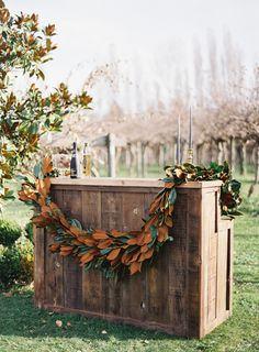 Magnolia Leaf Garland for a Winter Wedding Bar… Magnolia Leaf Garland, Magnolia Leaves, Romantic Flowers, Wedding Flowers, Decoration Buffet, Magnolia Wedding, Rustic Wedding, Boho Wedding, Fall Wedding