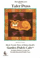 """Tater Puss by Helene Knott is a project that makes an 18"""" square quilt block.  Use as a small wall hanging or Combine with 22 other blocks from    the GARDEN PATCH CATS series   to make larger quilts.  Helene includes a recipe for a theme-related dish.  This kit and pattern include her recipe for Swedish Roasted Potato Fans."""