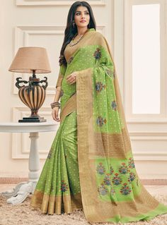 758795ed9837b Light Green Cotton Saree With Blouse 97213 Art Silk Sarees