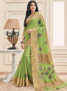 38639b8ac74ac8 Light Green Cotton Saree With Blouse 97213 Art Silk Sarees, Silk Sarees  Online, Beige