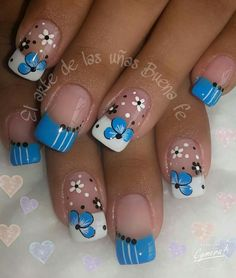 trendy nails matte pink french tips Daisy Nails, Flower Nails, Blue Nails, Gel Nails French, French Manicures, Floral Nail Art, Super Nails, Hot Nails, Cute Nail Designs