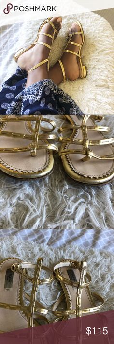a928c2416d8 Prada gold leather flats! Prada gold leather flats! Has scuffing and slight  wear.