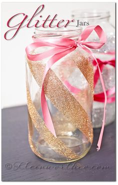 DIY::Pink Glitter Jars tutorial great for gor candy gifts! Glitter Mason Jars, Mason Jar Crafts, Mason Jar Diy, Bottle Crafts, Pink Mason Jars, Diy Bottle, Plastic Bottle, Bottles And Jars, Glass Jars