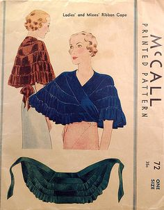 "1930s vintage sewing pattern cape, from flickr user wondertrading. ""This is a 1930s vintage pattern for making a cape out of ribbon."""