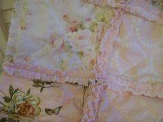 Crib Rag Quilt Bouquet Paris Pink Cream White Sage by CottageDome