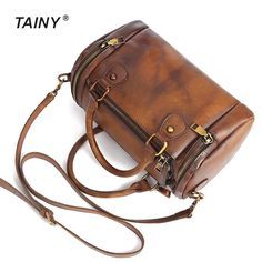 Tainy 2017 New Pillow Vintage Style Genuine Leather Cow Leather Shoulder Women's Bags Shoulder & Handbags 26cm