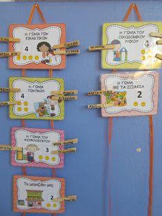 Ταξιδεύοντας στον κόσμο των νηπίων: ΙΔΕΕΣ ΓΙΑ ΟΡΓΑΝΩΣΗ ΤΗΣ ΤΑΞΗΣ Nursery Activities, Educational Activities, Preschool Activities, Preschool Education, Preschool Classroom, In Kindergarten, Classroom Rules, Classroom Organization, Classroom Ideas
