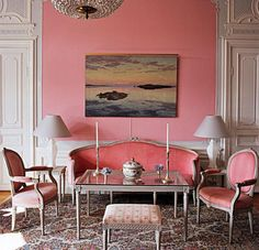 Swedish drawing room contains original signed furniture from 1772 to 1778, except for the glass-topped table designed by von Kantzow.
