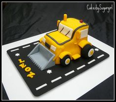 Just Baking: {Sugar coated order} Bulldozer Cake Digger Cake, Digger Party, Fondant Cakes, Cupcake Cakes, Bulldozer Cake, Bike Cakes, Construction Birthday, Construction Cakes, 3rd Birthday Cakes