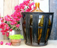 Large Vintage DemiJohn Glass Bottle Jug with by CityandSeaVintage, $265.00
