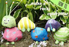 DIY Outdoors Kids Crafts - Fun Garden Art Ideas - DIY Rock Caterpillar - DIY Projects & Crafts by DIY JOY