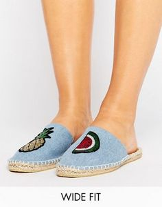 ASOS JAMMING Wide Fit Patch Espadrille Mules