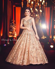 Stunning Gowns Real Brides wore instead of Lehenga for Reception Wedding Reception Gowns, Indian Wedding Gowns, Indian Gowns Dresses, Bridal Gowns, Indian Bridal, Bridal Lehenga, Wedding Lehnga, Maxi Gowns, Bridal Mehndi