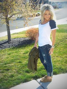 Friday Look | Stylin' Mommies Shirt: Pac Sun Jeans: AE Jacket: Forever 21 Shoes: c/o Sketchers {short sleeve navy blue baseball tee, boyfriend jeans, brown keds, army green jacket. tomboy, casual, hangout, weekend, school, spring outfit.}
