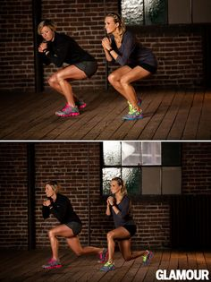 Carrie Underwood's Leg Workout: Squat Into Lunge Squat down on your left leg, right toes just touching the floor for balance. Without standing up, move your right leg back into a lunge. Keep your left. Fitness Workouts, 7 Workout, Fitness Motivation, Fitness Diet, Health Fitness, Fitness Legs, Stairs Workout, Lifting Motivation, Easy Fitness