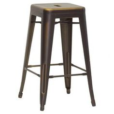 Bring industrial-chic style to your kitchen island or home bar with this handsome metal counter stool, showcasing an openwork base and antique copper-hued finish