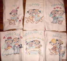 Vintage RARE days of the week flour sack towels~kittens courting SO Cute!!