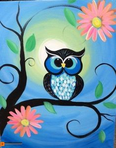 Owl painting ideas canvas painting kids painting with kids ideas canvas ideas kids creative painting ideas . Bird Paintings On Canvas, Canvas Painting Projects, Canvas Painting Quotes, Kids Canvas Art, Owl Canvas, Easy Canvas Painting, Easy Paintings, Painting For Kids, Diy Painting