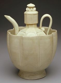 'Wine Ewer and Basin,' Northern Sung dynasty China, Ch'ing-pai ware Porcelain with pale blue glaze, 10 1/2 x 8 x 7""