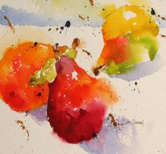 pears, fruit, watercolor, painting, fine art, Lisa Livoni, Napa Valley artist, colorist