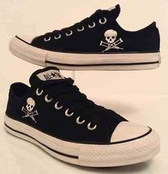 0401747498d0cb Converse Jackass All Star Low Size 5 Mens Black White LTD Skull Print Shoes  37.5