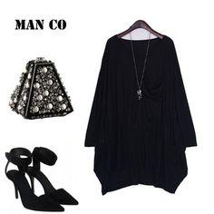 Oversized Loose Asymmetric Hem Black Dress YH21 plus 1x-10x (SZ 16-52)