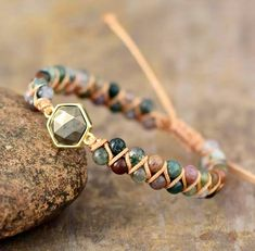 Bohemian Bracelets, Braided Bracelets, Handmade Bracelets, Wrap Bracelets, Bracelet Couple, Indian Agate, Healing Bracelets, Agate Gemstone, Stone Bracelet