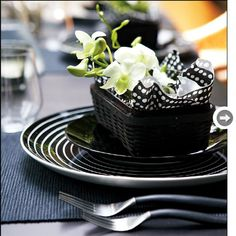 table settings dinner at home in black & white - Google Search