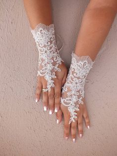 Wedding Glove ivory lace gloves Long  Fingerless by WEDDINGGloves, $35.00