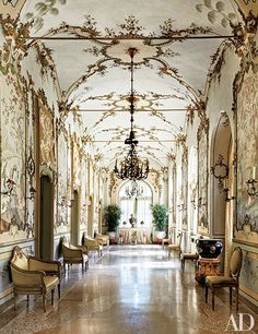The flamboyant Chinese Gallery is the centerpiece of Villar Perosa, the 18th-century Northern Italian estate that has been style leader Marella Agnelli's country home since 1953
