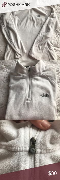 THE NORTH FACE white pull up sweater Pull up sweater size S. white with grey letters. Zipper in the front. Super comfy. Perfect for outdoor exercise. The North Face Sweaters
