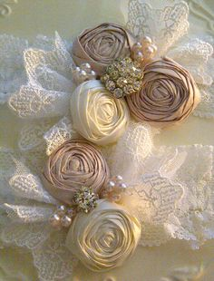 Pearl and French Lace Wedding Garter SET  Marie by DeesByDesign, $44.50