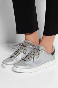 ADIDAS ORIGINALS Stan Smith metallic canvas sneakers