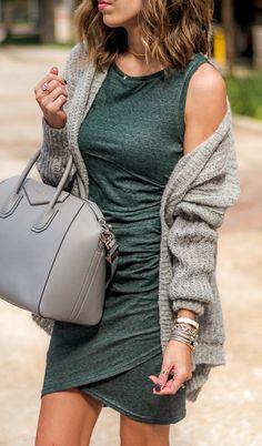 #fall #outfits  women's green crew-neck sleeveless mini dress