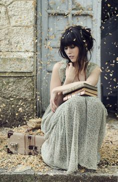The traveler fashion photography dress girl outdoors travel leaves suitcase
