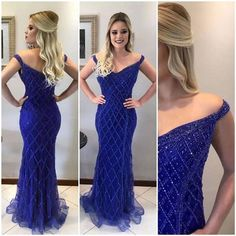 Custom Blue Tulle Off Shoulder Sexy Mermaid Prom Dresses, Sparkly Prom Dress, Evening Dress, Gorgeous Prom Dresses, Sparkly Prom Dresses, Mermaid Prom Dresses, Homecoming Dresses, Sparkly Wedding Shoes, Bridal Shoes, Formal Prom, Dream Dress, Dress To Impress