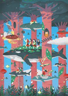 Sehee Chae's Liar Liar_Oh My Girl MiniAlbum Illustration on Behance Art And Illustration, Illustrations And Posters, Graphic Design Illustration, Animal Illustrations, Grafik Design, Art Plastique, Cartoon Network, Concept Art, Art Drawings